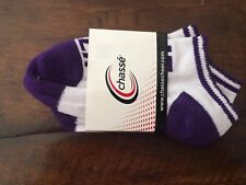 Pair of Chasse Cheer Socks, Anklets, Youth Size, Purple White, New!