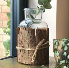 Vintage Style Glass Bottle Vase Rustic Bark Wedding Table Display Decoration