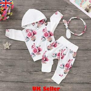 UK Newborn Baby Girls Clothes Floral Hooded Top T-shirt+Pants Toddler Outfit Set