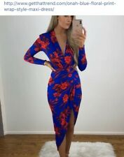 Blue and Red Floral Wrap- Style Midi Dress Size 8. Never worn- true to size.