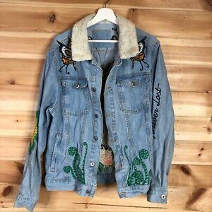 Zara Mens Denim Jacket Blue Large Embroidered Sherpa Trucker