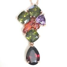 "Emerald Ruby Amethyst Dangle Charm Pendant Necklace Women Jewelry 18"" Chain"