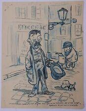 """Rare DESSIN Original Encre GUS BOFA """"Le Chanteur de Rue""""  Chien 1903/1904"""
