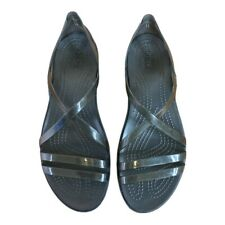Crocs Women's Size 10 Isabella Black Strappy Jelly Sandals Beach Vac Pool Boat