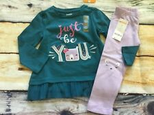 Gymboree 5T Set Woodland Weekend Just Be You Bear Top Lavender Face Leggings NWT