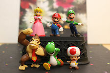 Super Mario Bros Peach Toad Mario Luigi 6pc Action Figures +Nice Clear Container