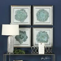 FOUR FRAMED XXL COLOR BOTANICAL PRINTS PICTURES UNDER GLASS WALL ART UTTERMOST