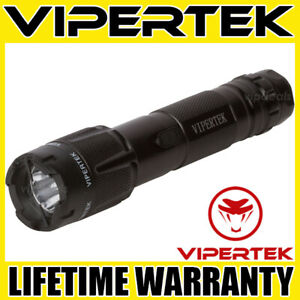 VIPERTEK Stun Gun VTS-T03 BLACK 500 BV Metal Rechargeable LED Flashlight