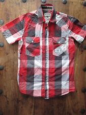 MENS CROSS HATCH RED GREY CHECK SHORT SLEEVE SHIRT SIZE SMALL