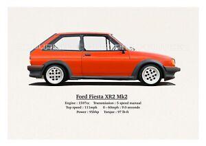 FORD FIESTA XR2 MK2 PRINT. CLASSIC. RETRO. LIMITED EDITION (40). 420mm x 297mm