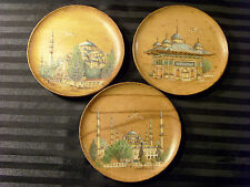 SET OF 3 TURKISH ISTANBUL SCENES WOOD WALL PLATES, OTTOMAN PYROGRAPHY, COLORS