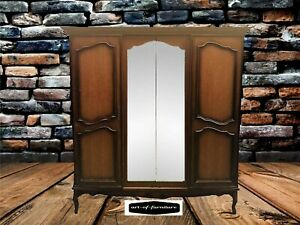 French Antique Style Carved Walnut 2 Glass Door Wardrobe / Armoire with shelves