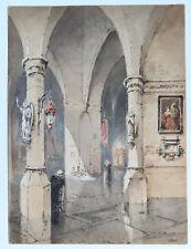 "JULES BROUTTA ALSACIEN  AQUARELLE "" EGLISE de NIEUPORT"" BELGIQUE 1888"