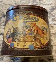 Vintage Wilson Sewing Thread Yarn Oval Tin Can Container Decoration Collectible