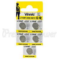 5 x Vinnic L1154F LR44 batteries Alkaline 1.5V AG13 G13 FREE Shipping