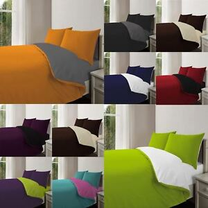 3PC Complete Reversible Poly Cotton Duvet Quilt Cover With Pillowcase