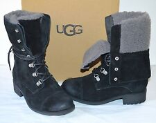 New $200 UGG Gradin Suede Black Lace Up Combat/Hiking Boots sz 6.5 Distressed