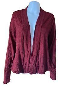 Vigorella-Wool Mix Crop Jacket Cardigan in Burgundy-Size M/L