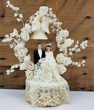 Vintage Chalkware Wedding Cake Topper Brunette Bride White Veil