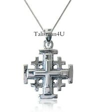 3D JERUSALEM CROSS Necklace Sterling Silver Charm Pendant Holy Land Certificate