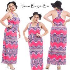 New Ladies Coral Tribal Print Maxi Dress Plus Size 14/1XL (9808)LM