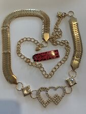 Betsey Johnson CLEAR Rhinestone LONG DOUBLE HEART BELT OR Necklace-BJ88620