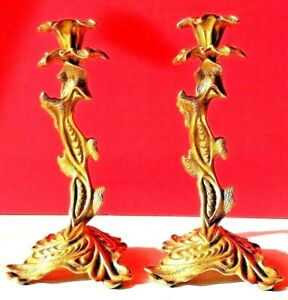 """Elegant and Stylish 2 Candle Holder 9"""" high mixture of coin-operated bronze mix"""