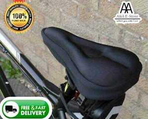BIKE SADDLE CUSHION SEAT COVER BICYCLE PADDED SOFT COMFY CYCLING MTB ROAD BLACK