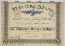 Atelliers Atlas Automobile, Aviation, Industrie action de 100 Frs 1917
