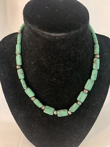 Green Turquoise and Silver Necklace/Bracelet Set
