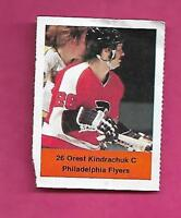 RARE 1974-75 LOBLAWS FLYERS OREST KINDRACHUK ROOKIE STICKER (INV# A8089)