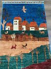 New Handmade Pakistani Pictorial Runner, Pastoral Scene,3x8 - Also Sold as Pair