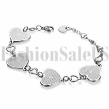 "7.9"" Womens English Bible Prayer Love Heart Stainless Steel Cuff Bangle Bracelet"