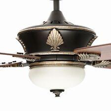 Large 60 Gold Emblem Ceiling Fan + Remote Old World Bronze Accent Light Fixture
