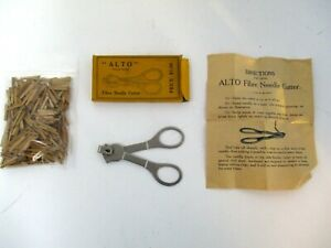 ALTO Fibre Needle Cutter in box with wood fiber needles vintage phonograph parts