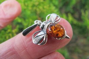 Bumble Bee Amber Pendant Crystal Fossil Small 925 Silver Lithuanian Healing