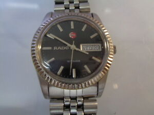 RADO VOYAGER MENS WATCH DAY & DATE AUTOMATIC BLACK DIAL STAINLESS STEEL