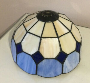 Tiffany style ceiling lamp shade. ceiling light. Blue-sky. Royal blue. Cream