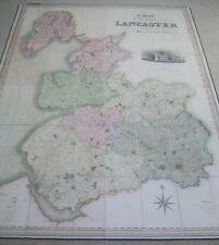 Lancashire: large antique folding map by G.Hennet, 1830