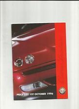 ALFA ROMEO 145, 146, 155, 164, SPIDER AND GTV PRICE LIST SALES BROCHURE OCT.1996
