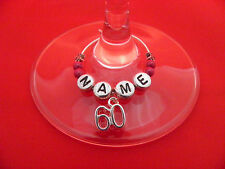 Personalised 60th Birthday Wine Glass Charm with Name in a Gift Card - FREE P&P