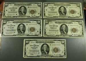 Lot: 5 1929 $100 FRB Brown Seal Notes NY, Chicago, Cleveland, KC, Minneapolis