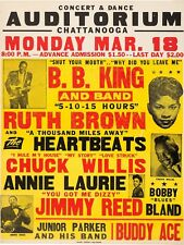 """BB KING CHATTANOOGA 16"""" x 12"""" Reproduction Concert Poster Photo"""