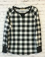 Faded Glory Womens Thermal Shirt Size XXL (20) Black White Gingham Long Sleeve