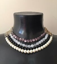 Oro Negro Púrpura Crema 4 Fila Perla Collar Gargantilla Cuello conjunto rocas Boutique