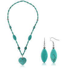 """24"""" Simulated Turquoise Howlite Necklace With Heart Shape Pendant & Earring Set"""