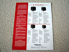 Klipsch Synergy-KSW series subwoofer speaker brochure