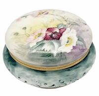 """Antique 1904 Limoges Hand Painted Signed Dated Dresser Box  4.5""""W  3""""H"""