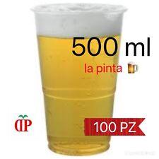 100 BICCHIERI BIRRA IN PLASTICA TRASPARENTE GRADUATI 500ml