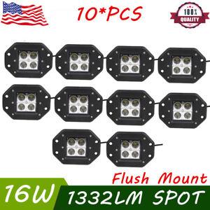 "10X 16W 3"" LED Cube Pod Work Lights Spot Fog Lamp Driving Truck 4WD Flush Mount"